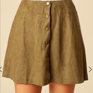 Altar'd state green suede button down skirt